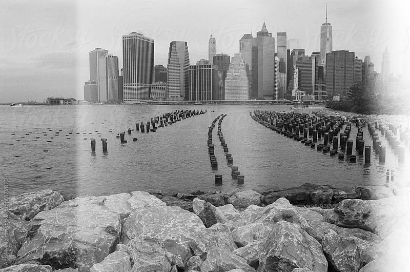 Film photo of lower Manhattan as seen from Brooklyn by Anna Malgina for Stocksy United
