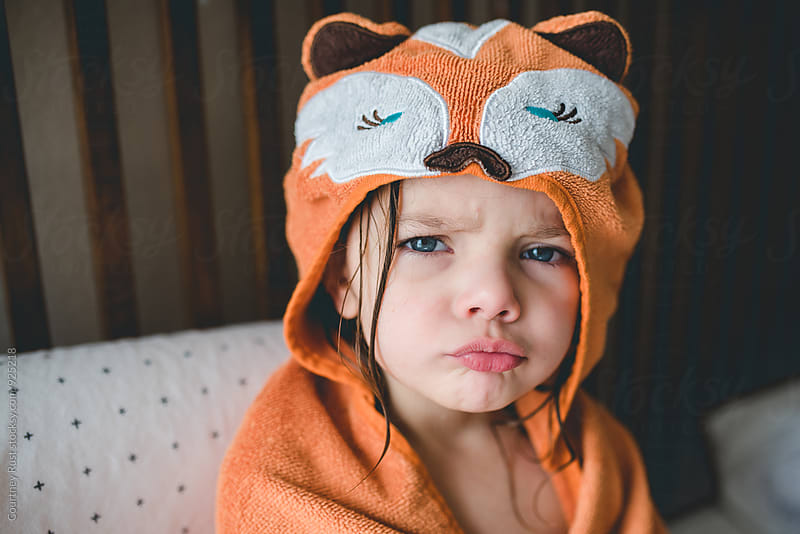 Pouty face in a fox towel by Courtney Rust for Stocksy United