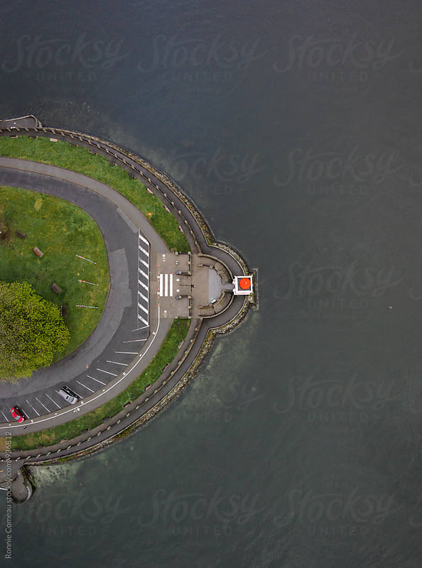 Symmetrical Lighthouse Point From Above by Ronnie Comeau for Stocksy United