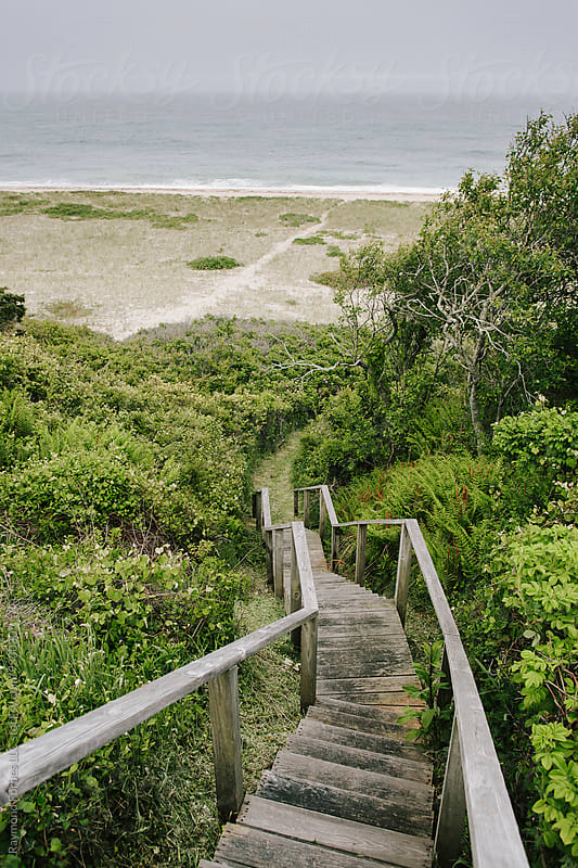 Stairway to Beach on Nantucket Island, Massachusetts by Raymond Forbes LLC for Stocksy United