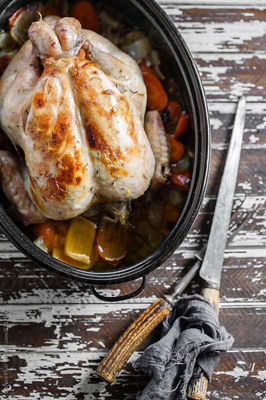Whole roast chicken. by Darren Muir for Stocksy United