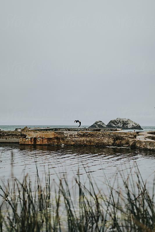 Woman Backbending in Front of Pacific Ocean by Daniel Inskeep for Stocksy United