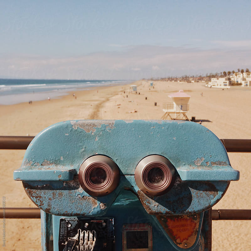 Vintage Coin Operated Binoculars at the Beach by Benj Haisch for Stocksy United