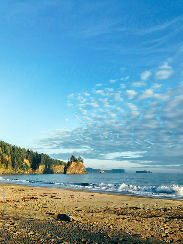 Sandy Beach Cove Along The Washington Coast by Luke Mattson for Stocksy United