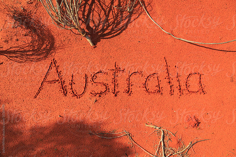 Australia written in sand. Northern Territory. Australia. by John White for Stocksy United