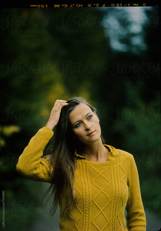 autumn portrait brunette woman by rolfo for Stocksy United