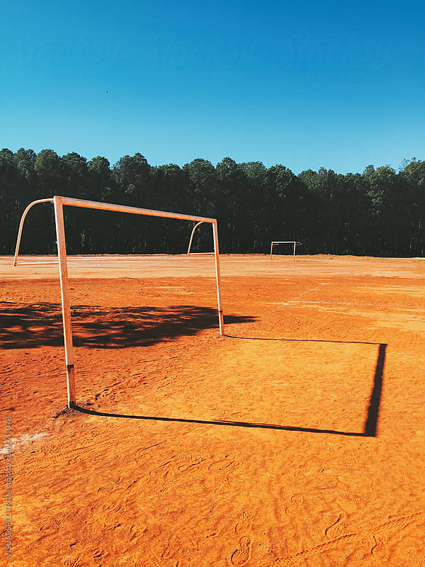 Two Goals on Sandy Soccer Field in Brazil by VISUALSPECTRUM for Stocksy United