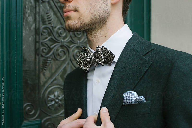 Close Up of Fashionable Caucasian Styler Wearing Bow Tie by Julien L. Balmer for Stocksy United