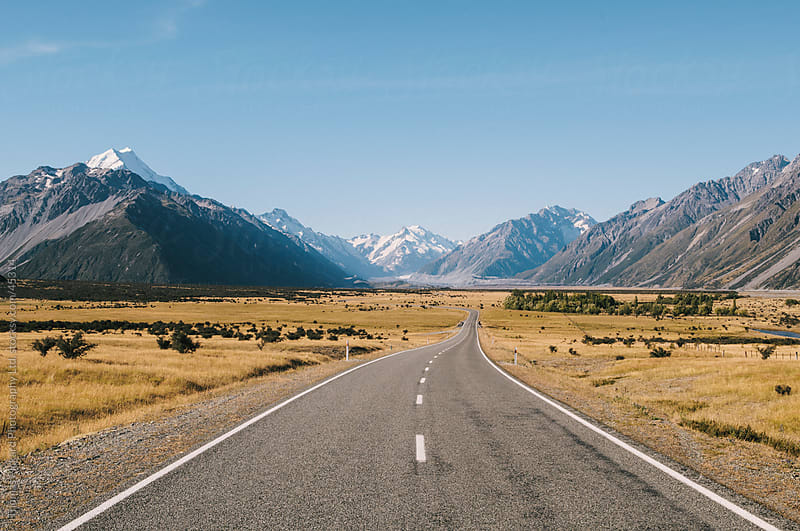 Road into Aoraki / Mt Cook National Park, New Zealand. by Thomas Pickard for Stocksy United