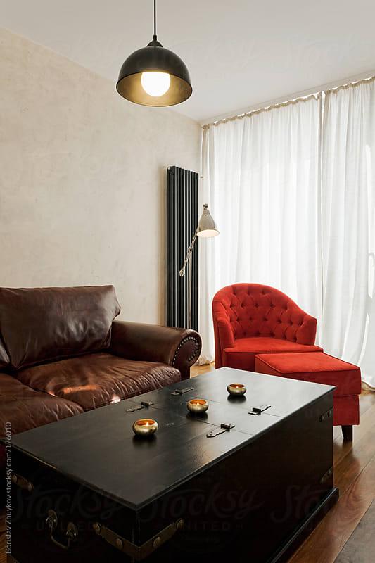Modern living room by Borislav Zhuykov for Stocksy United