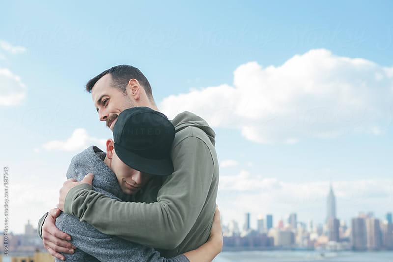 Loving Gay Men Lovers Embracing in New York by Joselito Briones for Stocksy United