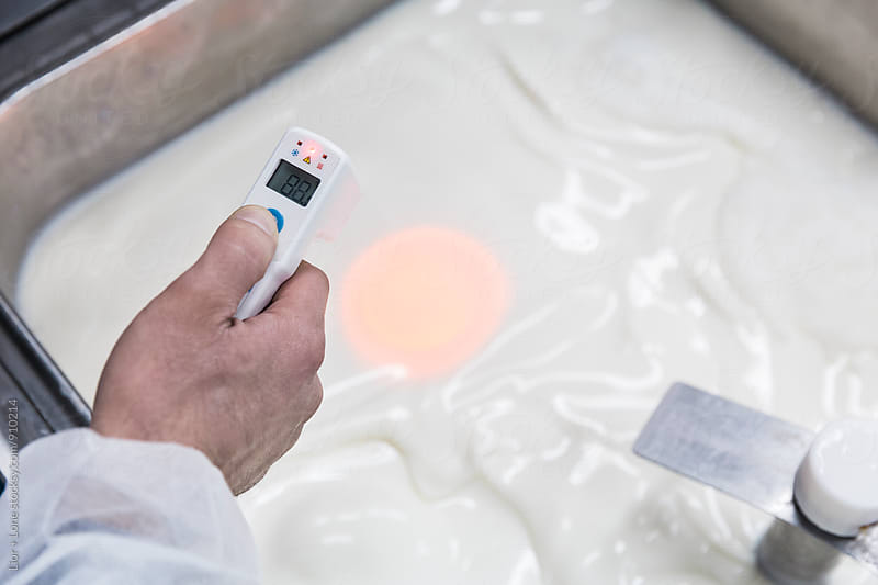 Hand holding electronic thermometer taking temperature of milk by Lior + Lone for Stocksy United
