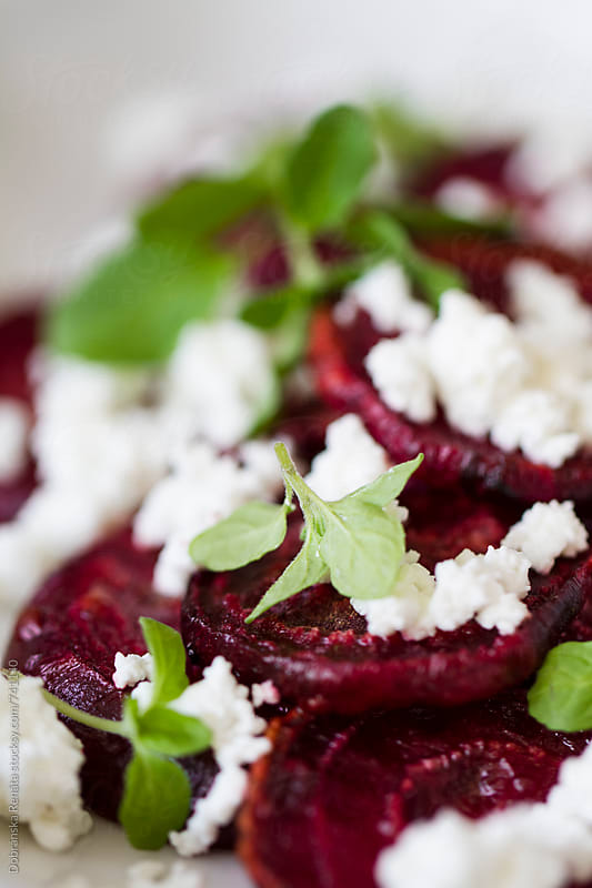 Roasted beetroot with ricotta by Dobránska Renáta for Stocksy United
