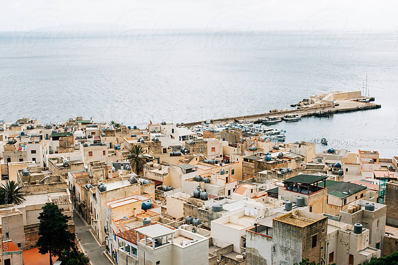 View on Whitewashed Mediterranean Seaside Village by Julien L. Balmer for Stocksy United