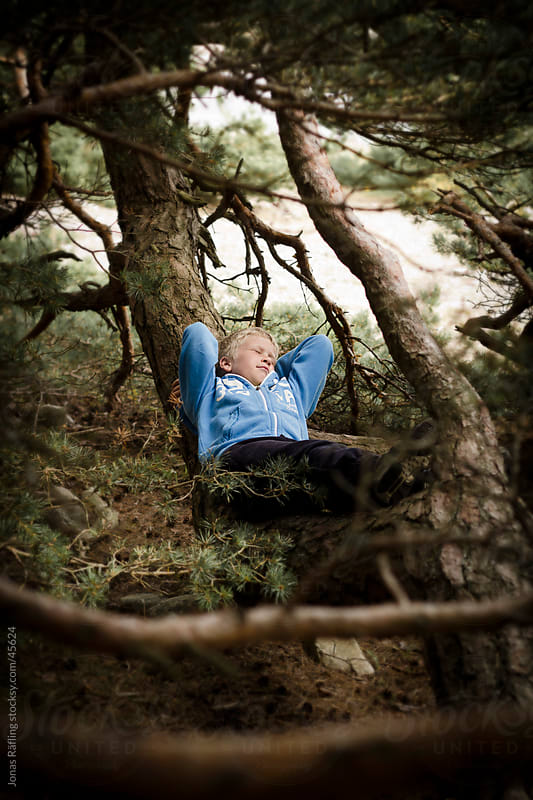 Boy almost sleeping on a tree trunk by Jonas Räfling for Stocksy United