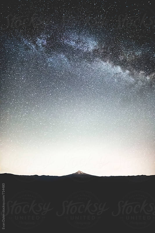 Mt. Hood Under Milky Way Galaxy by Evan Dalen for Stocksy United