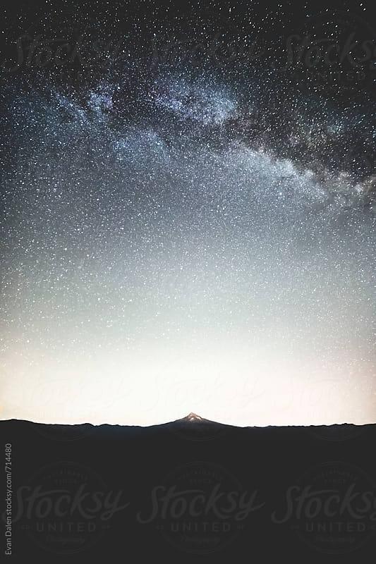 Mt. Hood Under Milky Way Galaxy by Evan Dalen for Stocksy United