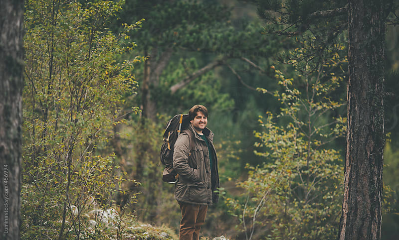 Man With a Backpack in Nature by Lumina for Stocksy United
