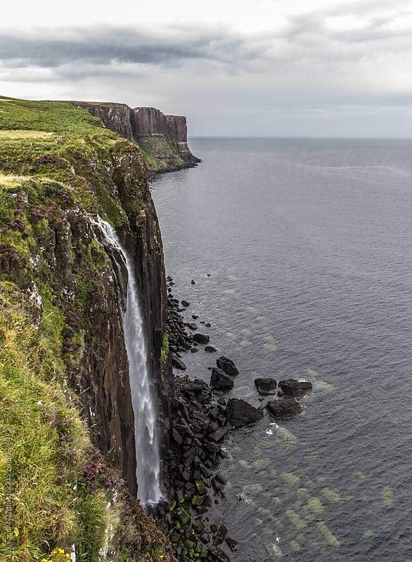 Kilt rock waterfall, Isle of Skye, Scotland  by Leander Nardin for Stocksy United