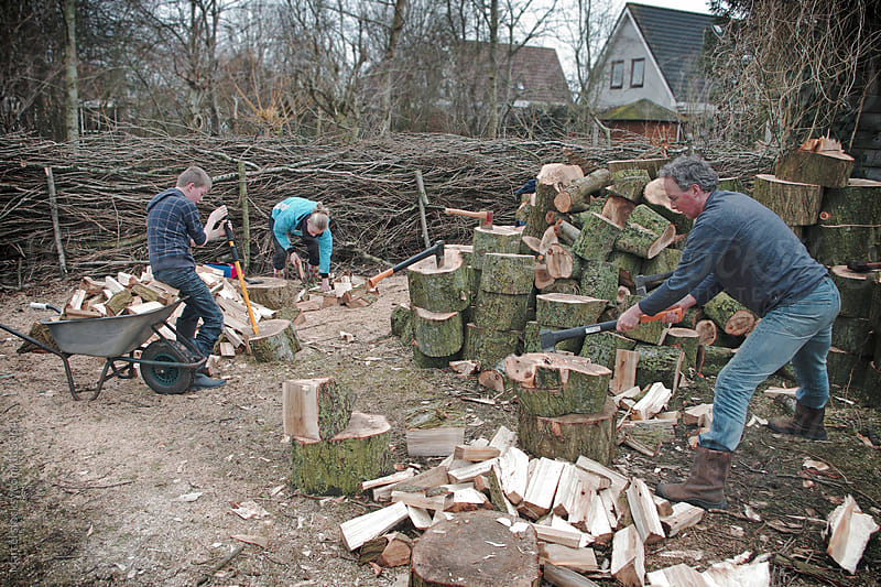 Family chopping firewood by Marcel for Stocksy United