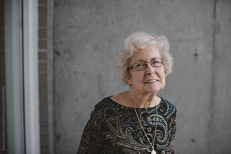 Happy portrait of caucasian senior woman  by Rob and Julia Campbell for Stocksy United
