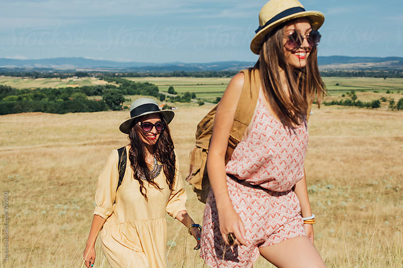 Happy Girls Hiking Together by Lumina for Stocksy United