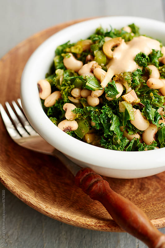 Black-eyed Peas and Kale Salad with Tahini Dressing by Harald Walker for Stocksy United