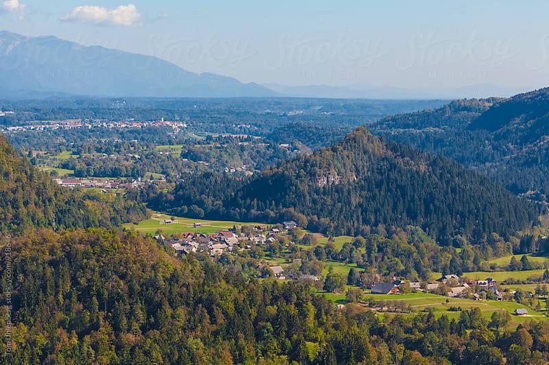 Slovenian Landscape - View from Mala Osojnica near Bled towards Selo, Ribno, Bodešče and Radovljica by Tom Uhlenberg for Stocksy United