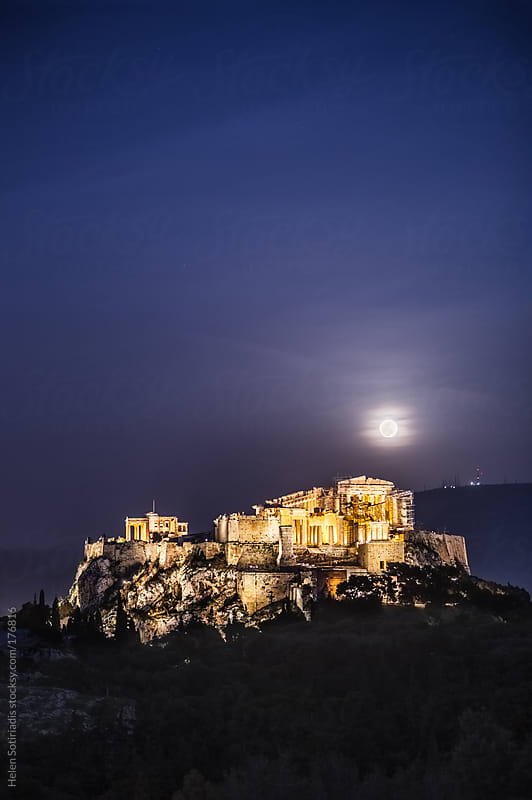 The Full Moon Rises Over the Parthenon by Helen Sotiriadis for Stocksy United