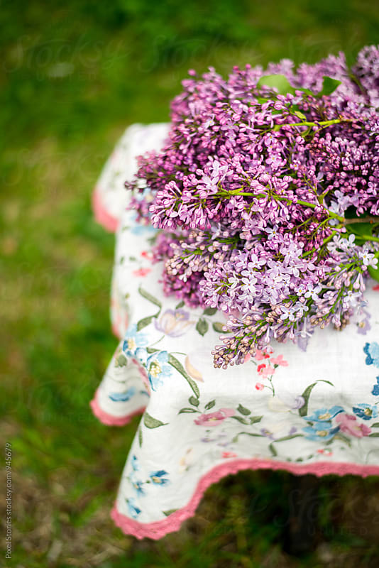 Freshly picked lilac on table outdoors by Pixel Stories for Stocksy United