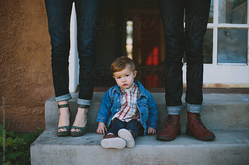 Baby Sitting on Steps by luke + mallory leasure for Stocksy United