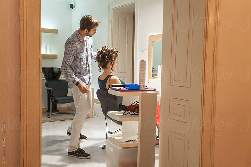 Client Getting a Haircut in a Salon by Mosuno for Stocksy United
