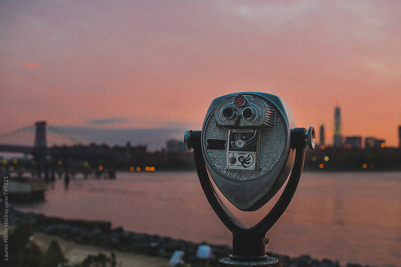 Viewfinder at sunset in the city by Lauren Naefe for Stocksy United