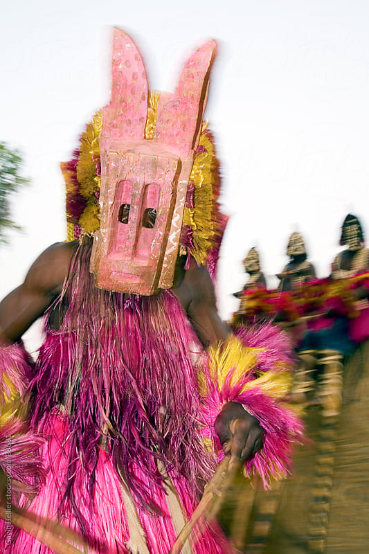 Africa, West Africa, Mali, Dogon Country, Bandiagara escarpment, Masked Ceremonial Dogon Dancer near Sangha by Gavin Hellier for Stocksy United
