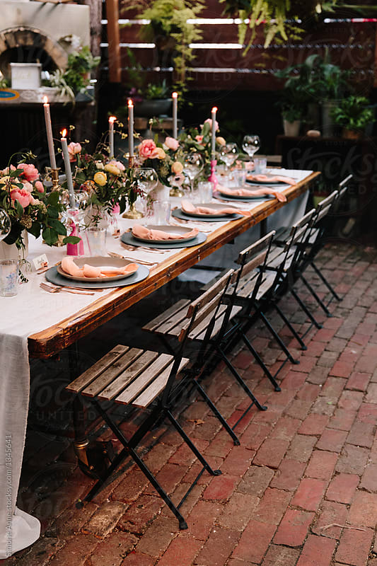Fancy Dinner Table Set Up For A Dinner Party In A Greenhouse By Simone Anne  For