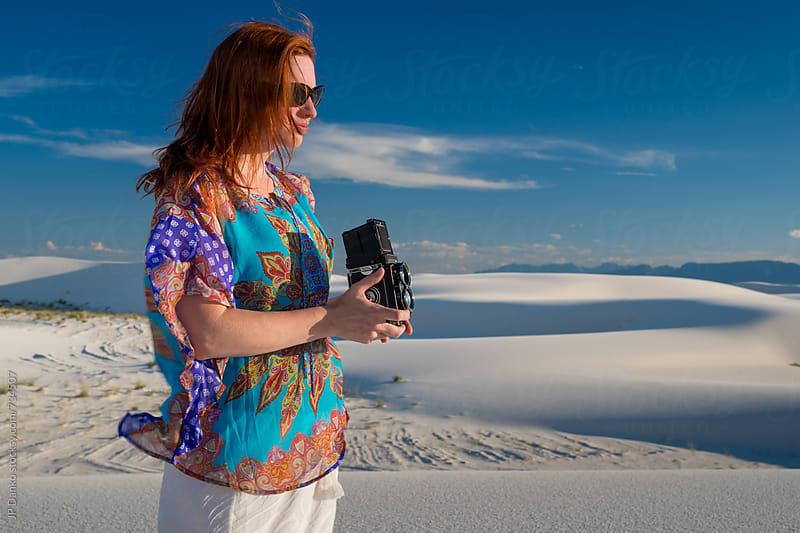 Woman Photographing White Sands National Monument New Mexico With Vintage Retro TLR Film Camera by JP Danko for Stocksy United