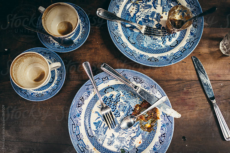 Finished stylish breakfast plates from above by Trent Lanz for Stocksy United