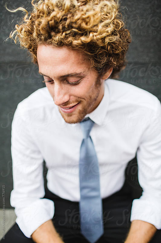Portrait of smiling  young man in shirt and tie by michela ravasio for Stocksy United