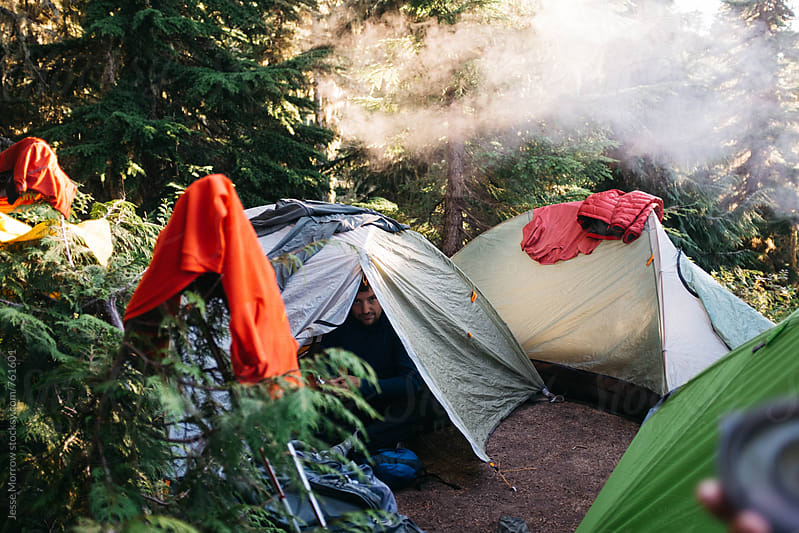 man sticks head out of tent at campsite in northern forest by Jesse Morrow for Stocksy United