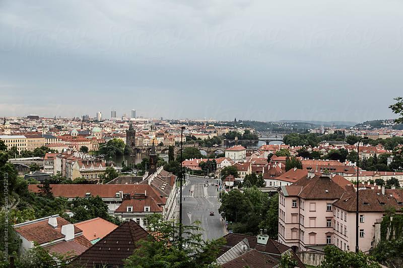 View  to Prague and Vltava River with its Bridges by Melanie Kintz for Stocksy United