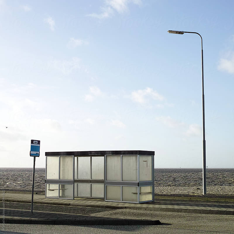 Busstop at sea by Marcel for Stocksy United