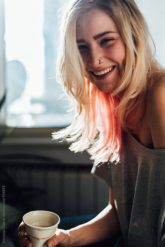 Beautiful Blond Woman With Pink Hilights in Her Hair by Nemanja Glumac for Stocksy United