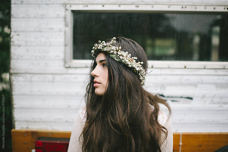 Boho woman and camper by Michelle Gardella for Stocksy United