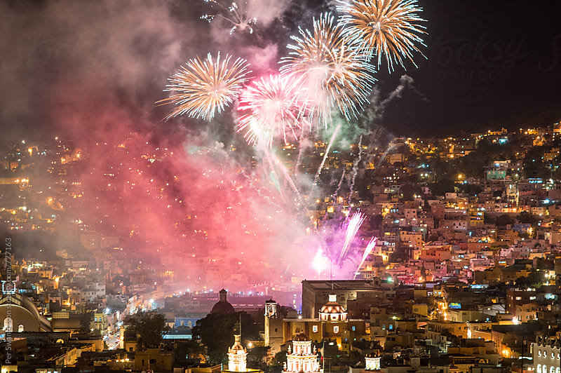 Colorful fireworks over Guanajuato by Per Swantesson for Stocksy United