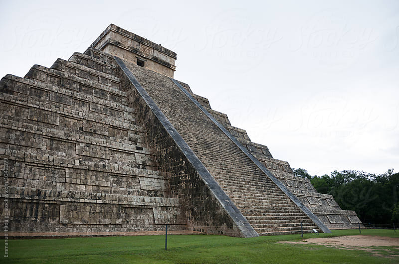 Closeup low angle view of theMayan stepped pyramid Chichen Itza at Yucatan Peninsula, Mexico by Emmanuel Hidalgo for Stocksy United