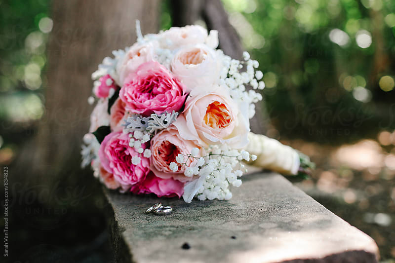 Pink Bridal Bouquet with Rings. by Sarah VanTassel for Stocksy United