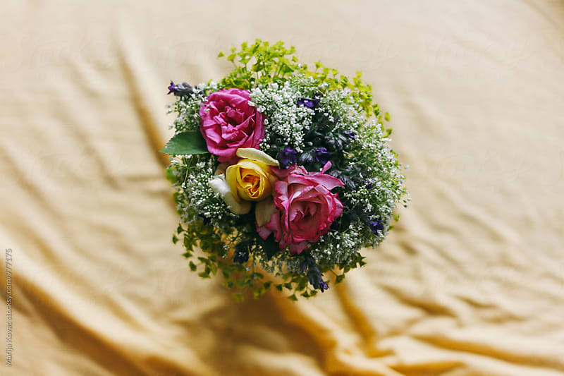 Bouquet of flowers from above, indoor by Marija Kovac for Stocksy United