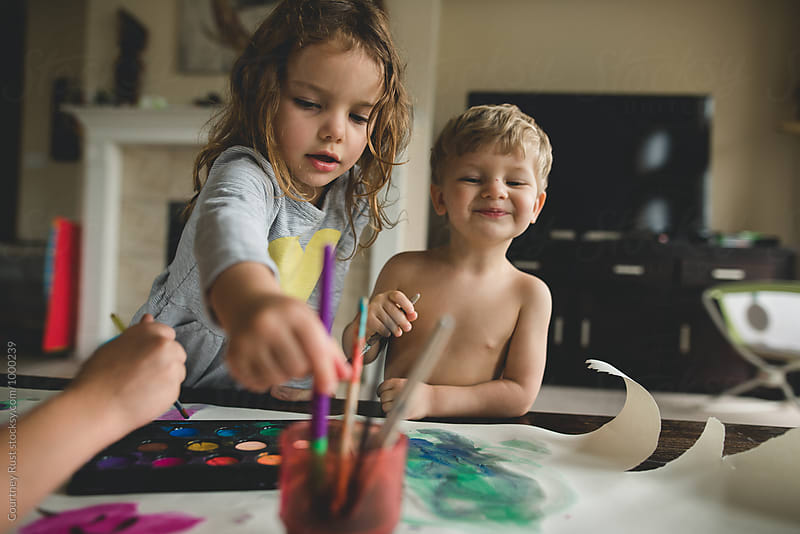 Homeschool craft/paint time by Courtney Rust for Stocksy United