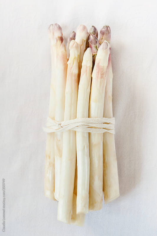 Bunch of White Asparagus with Purple Asparagus Heads by Claudia Lommel for Stocksy United