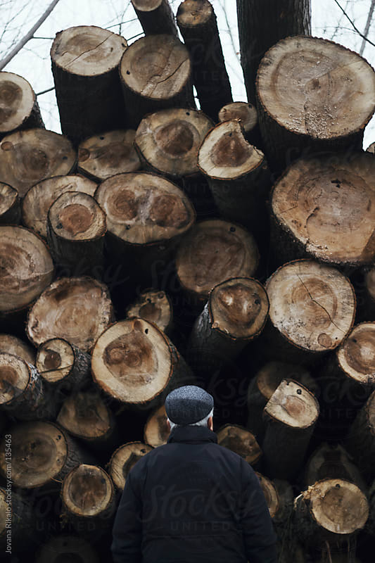 A man collects firewood from a woodpile on a foggy morning by Jovana Rikalo for Stocksy United
